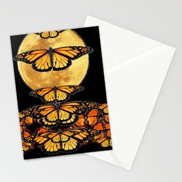 MONARCH BUTTERFLIES UNDER FULL MOON NIGHT SKY Stationery Cards