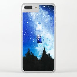 flying tardis in starry night Clear iPhone Case