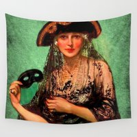 pirate ship Wall Tapestries featuring Pirate Jenny by sasha alexandre keen