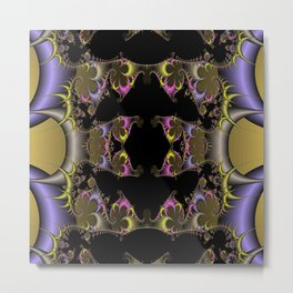 Fractal in Lilac and Gold Metal Print