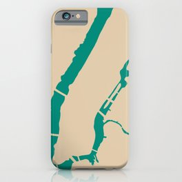 Manhattan NYC New York Minimalist Abstract in Mid Mod Beige and Teal iPhone Case