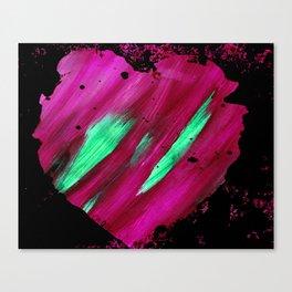 Magenta Abstract Heart Splatter Painting Magenta Red Crimson Green Black Canvas Print