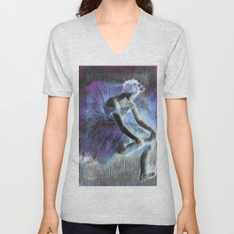 The Dancer by Degas Periwinkle Blue Lavender Unisex V-Neck