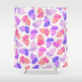 Girly pink summer trendy watercolor fern pattern Shower Curtain