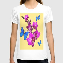 Sunny Yellow Blue Butterflies Pink Orchid flowers Art T-shirt