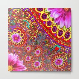 BOHEMIAN  FUCHSIA FLORALS  IN RED-YELLOW COLOR ART Metal Print