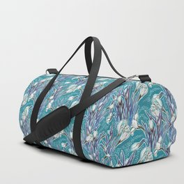 Crocuses, floral pattern in turquoise, blue and white Duffle Bag