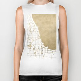 Chicago Gold and White Map Biker Tank