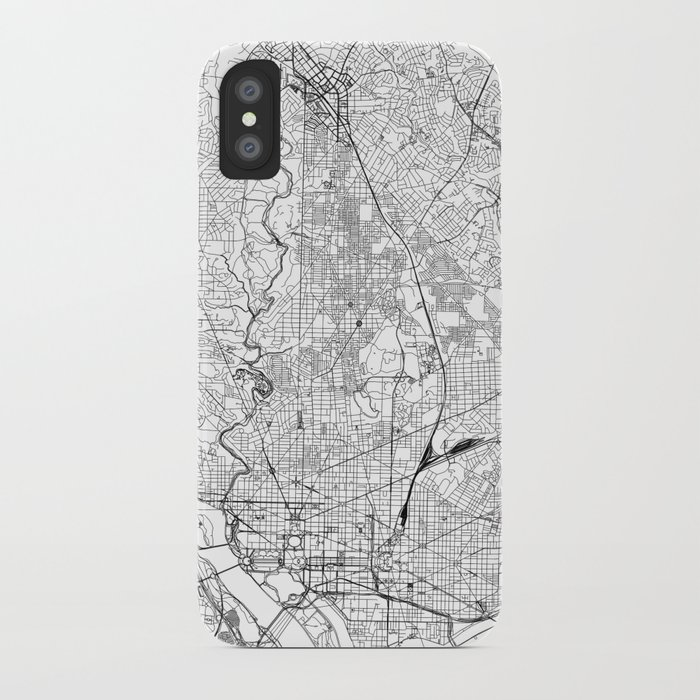 washington d.c. white map iphone case
