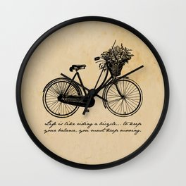 Albert Einstein - Life is Like Riding a Bicycle Wall Clock