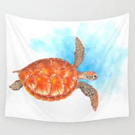 Sea Turtle In Water - Watercolor Painting. Wild Nature Marine Animal Art Wall Tapestry