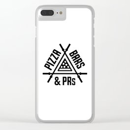 Pizza, Bars and PRs Fitness Triangle v2 Clear iPhone Case