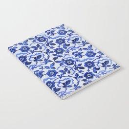 Azulejos blue floral pattern Notebook