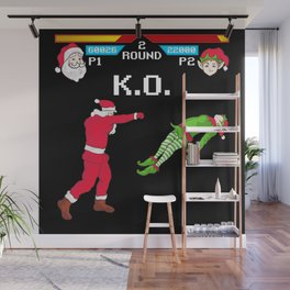Santa vs Elf Wall Mural