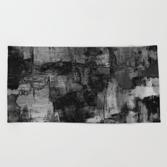 Crackled Gray - Black, white and gray, grey textured abstract Beach Towel