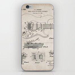 Guitar Tremelo Patent - Guitarist Art - Antique iPhone Skin