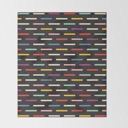 Modern Scandinavian Dash Multi Colour Color Black Throw Blanket