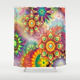 Mandala Star,Abstract Playful Graphic Art Shower Curtain