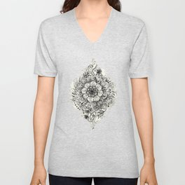 Messy Boho Floral in Charcoal and Cream  Unisex V-Neck