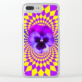 OPTICAL LILAC PURPLE PANSIES YELLOW  GEOMETRIC ART Clear iPhone Case