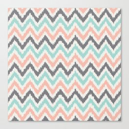 Mint Gray Coral Zigzag Pattern Canvas Print