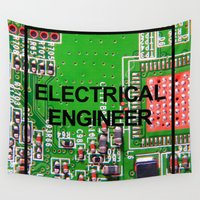 engineer Wall Tapestries featuring Electrical Engineer by EEShirts
