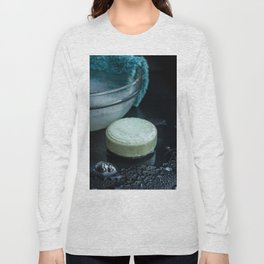 French lavender soap bar with bubbles on dark background Long Sleeve T-shirt