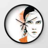 cara Wall Clocks featuring Cara by Claire.H