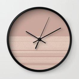 Organic Stripes in Cream and Blush Mauve  Wall Clock