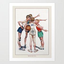 Vintage Poster-Norman Rockwell-Basketball player. Art Print