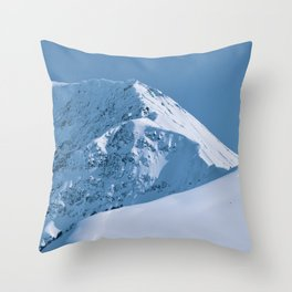 Winter Mountains in Glacier Blue - Alaska Throw Pillow