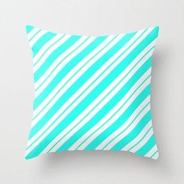Aquamarine Peppermint Stripes Throw Pillow