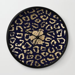Modern navy blue faux gold hipster cheetah animal print Wall Clock