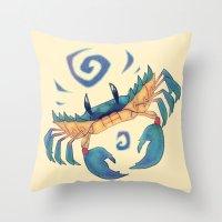 crab Throw Pillows featuring Crab by Anya McNaughton