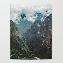 Blue morning mist over the Andes mountains and river near Machu Picchu, Peru Poster