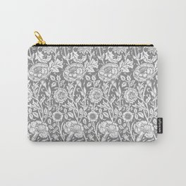 "William Morris Floral Pattern | ""Pink and Rose"" in Grey and White Carry-All Pouch"