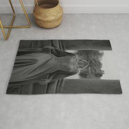 In another time and space female portrait black and white photograph / art photography Rug