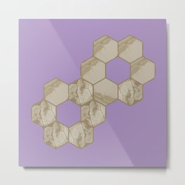 Hexagon flower and leaf in lilac Metal Print