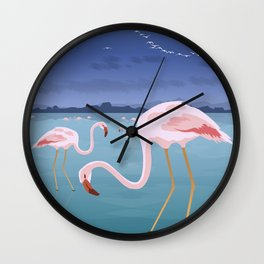 Lefkada, Flamingos at the lagoon (GR) Wall Clock