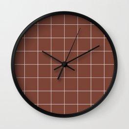 Graph Paper (White & Brown Pattern) Wall Clock