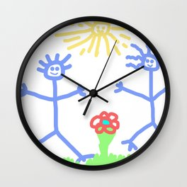 child's drawing with happy people Wall Clock