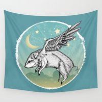 pigs Wall Tapestries featuring Pigs Fly by Mary Machare