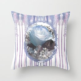 Blue Spring Roses Throw Pillow