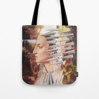 iron maiden Tote Bags featuring Laura The Iron Maiden by MELANCHOLIE (mit MONSTERN)
