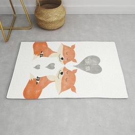 Loving Fox Couple - I love you - Happy Valentines Day Rug