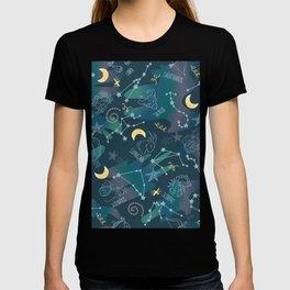Astrology Zodiac Signs Night Sky Seamless Pattern T-shirt