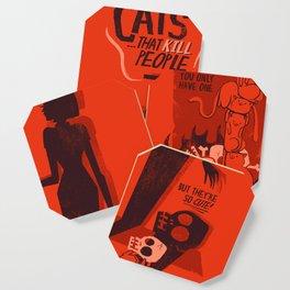 Cat Movie - orange Coaster