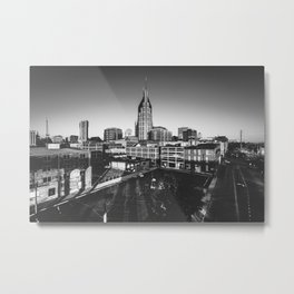 Nashville Downtown in Black and white Metal Print