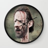 rick grimes Wall Clocks featuring Rick Grimes by dbruce