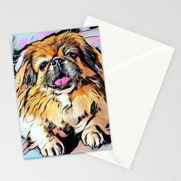 Pekingese Cartoon photo Stationery Cards